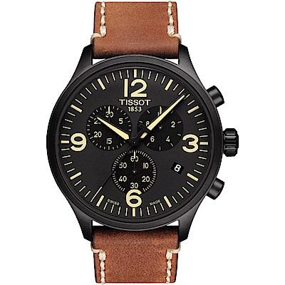 TISSOT天梭Chrono XL計時運動錶T1166173605700-咖啡/45mm