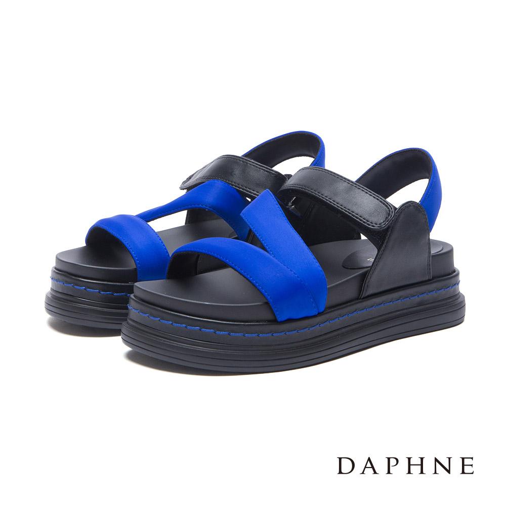 達芙妮DAPHNE 涼鞋-V型寬帶魔鬼氈休閒涼鞋-藍