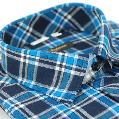 【金安德森】深淺藍格紋保暖窄版長袖襯衫