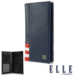 ELLE HOMME 法式紅白黑系列-18卡窗格對開雙層鈔票設計真皮長夾- 藍色