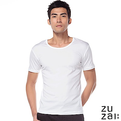 zuzai 自在發熱衣歸真系列男無重力暖搭短袖衣-白色