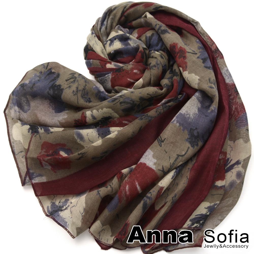 【2件450】AnnaSofia 古典花繪染 拷克邊韓國棉圍巾披肩(深酒紅咖)