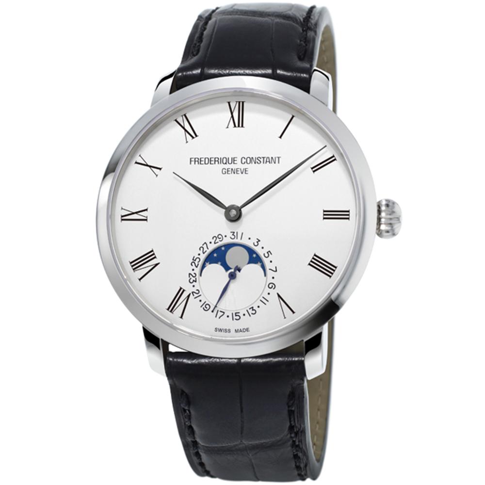 康斯登CONSTANT自製機芯超薄月相腕錶-42mm/白x黑
