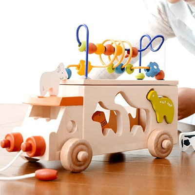 DF 童趣館 - 益智配對動物音樂會寶寶拖拉積木玩具車