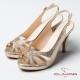 CUMAR魅力透視 鑲鑽鏤空高跟涼鞋-金
