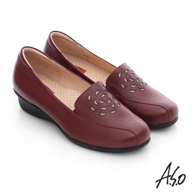 A.S.O 活力勁步 真皮鏤空花瓣奈米氣墊鞋 酒紅
