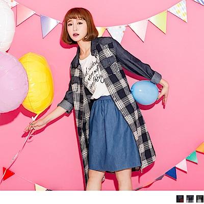 格紋配色綁帶長版襯衫/外套/洋裝.女3色-OB嚴選