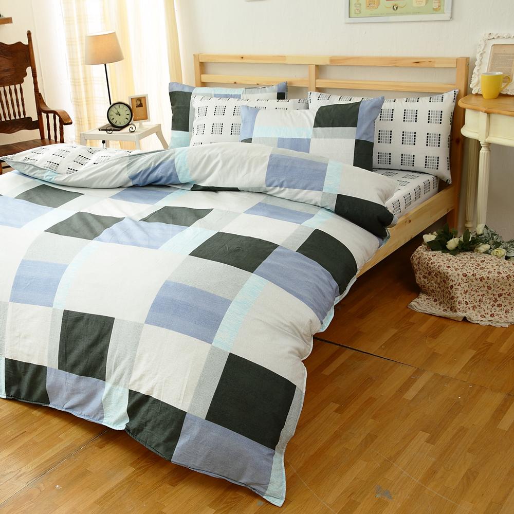 【FOCA-素雅藍調】四件式100%精梳純棉兩用被床包組-雙人