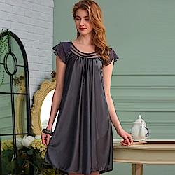 睡衣 彈性珍珠絲質 居家連身睡衣(95001)灰色-台灣製造 蕾妮塔塔
