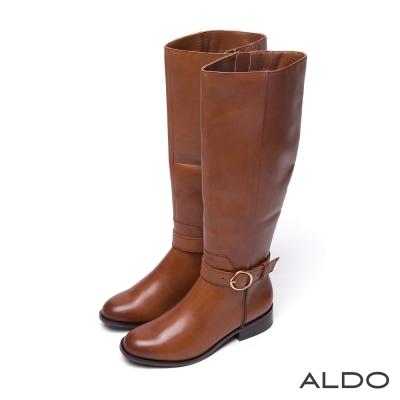 ALDO-真皮金屬圓環釦帶木紋粗跟長靴-個性焦糖