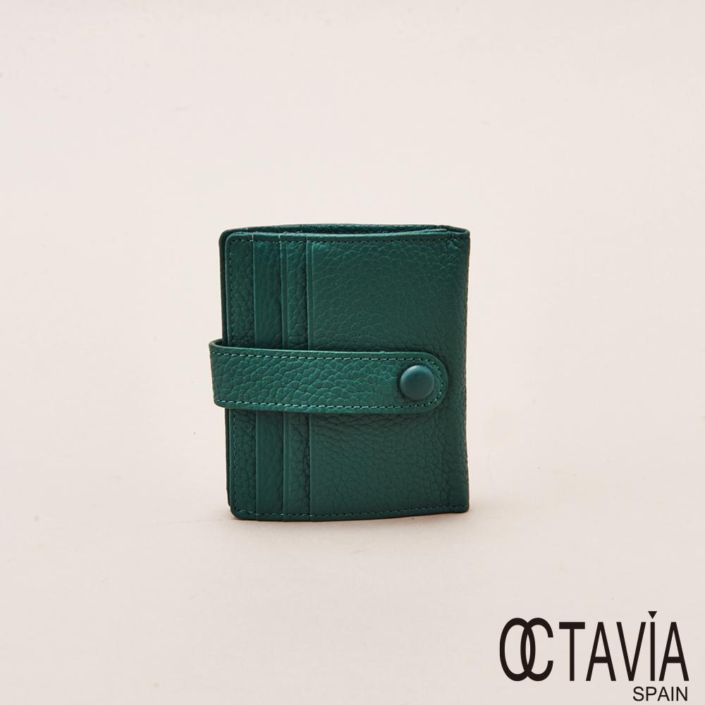 OCTAVIA天使的翅膀極薄式二折式卡片小短夾墨綠