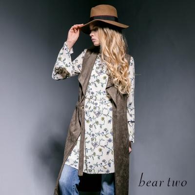 beartwo浪漫荷葉立領異域花卉洋裝-共兩色