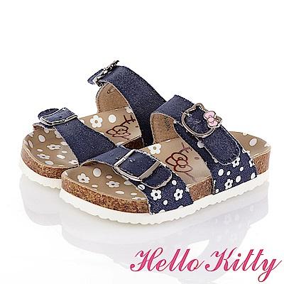 HelloKitty 牛仔布系列 花朵舒適吸震防滑休閒拖鞋童鞋-藍
