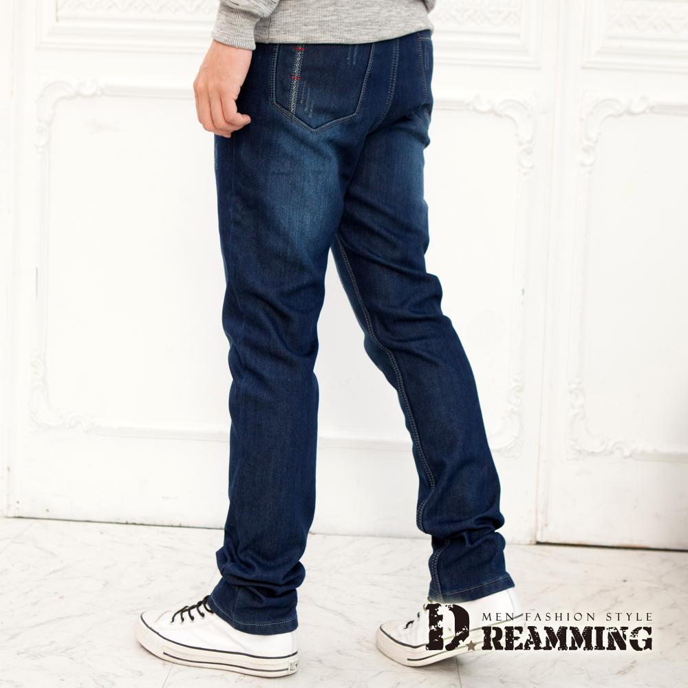Dreamming 加厚刷毛剪接刷色伸縮小直筒牛仔褲
