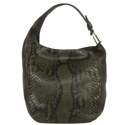 GUCCI 稀有款 蛇紋壓紋軟皮肩背包(綠)