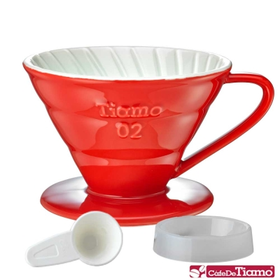 Tiamo V02 陶瓷雙色濾杯組附滴水盤量匙螺旋款-五色(HG5544)