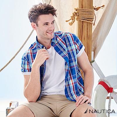 Nautica時尚緹花格紋短袖襯衫 -藍格