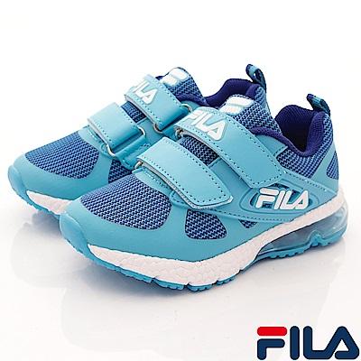 FILA頂級童鞋 針織彈力氣墊慢跑款FO25S-331藍(中大童段)