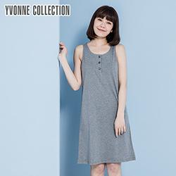 YVONNE純棉三釦門襟背心洋裝