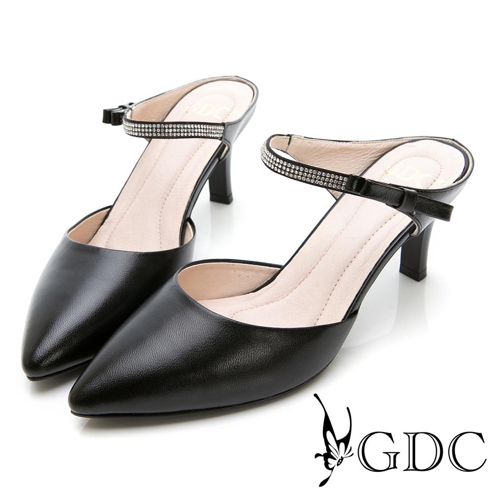 GDC-羊皮優雅水鑽氣質尖頭低跟拖鞋-黑色