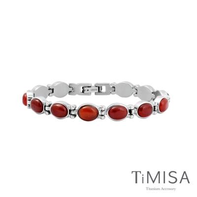 TiMISA《絢麗瑰寶-優雅富貴紅》純鈦鍺手鍊