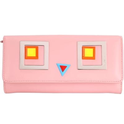 FENDI Square Eyes 幾何方型眼睛圖案小牛皮釦式長夾(粉色)