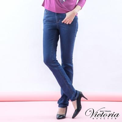 Victoria 中高腰燙鑽刷毛小直筒褲-女-深藍