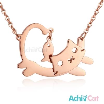 AchiCat 白鋼項鍊 淘氣貓咪(玫金)