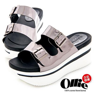 Ollie韓國空運-正韓製皮革雙帶扣飾厚底拖鞋-銀