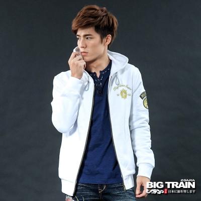BIG TRAIN-街頭風家徽連帽外套-白