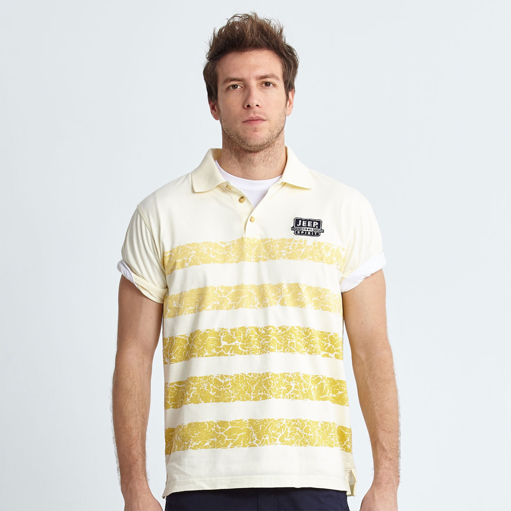 Jeep 條紋POLO衫爆裂黃