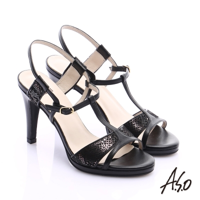 A.S.O 璀璨注目 金箔真皮T字帶高跟涼鞋 黑