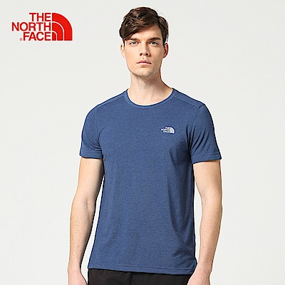 The North Face北面男款藍色吸濕排汗休閒短袖T恤