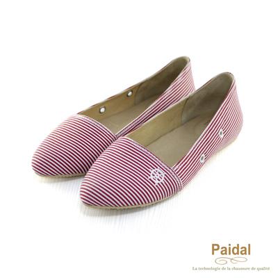 Paidal 經典海洋風橫條紋海錨尖頭娃娃鞋包鞋-紅