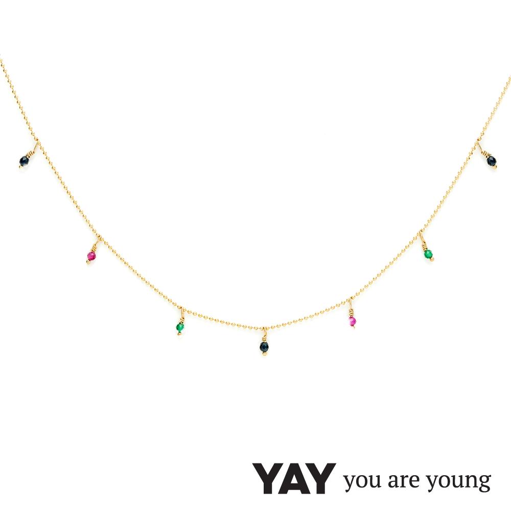 YAY You Are Young 法國品牌 Frida 寶石花束項鍊 彩鑽X星辰豆豆
