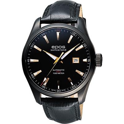 epos Passion系列都會時尚機械腕錶-黑x玫塊金時標/44mm