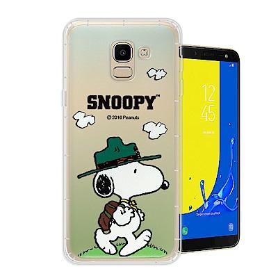 史努比 正版授權 Samsung Galaxy J6 漸層彩繪空壓手機殼(郊遊)