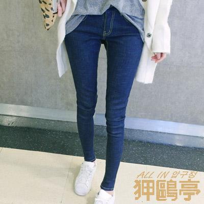 正韓 縫線貼臀窄管牛仔長褲 (共二色)-ALL IN 狎鷗亭