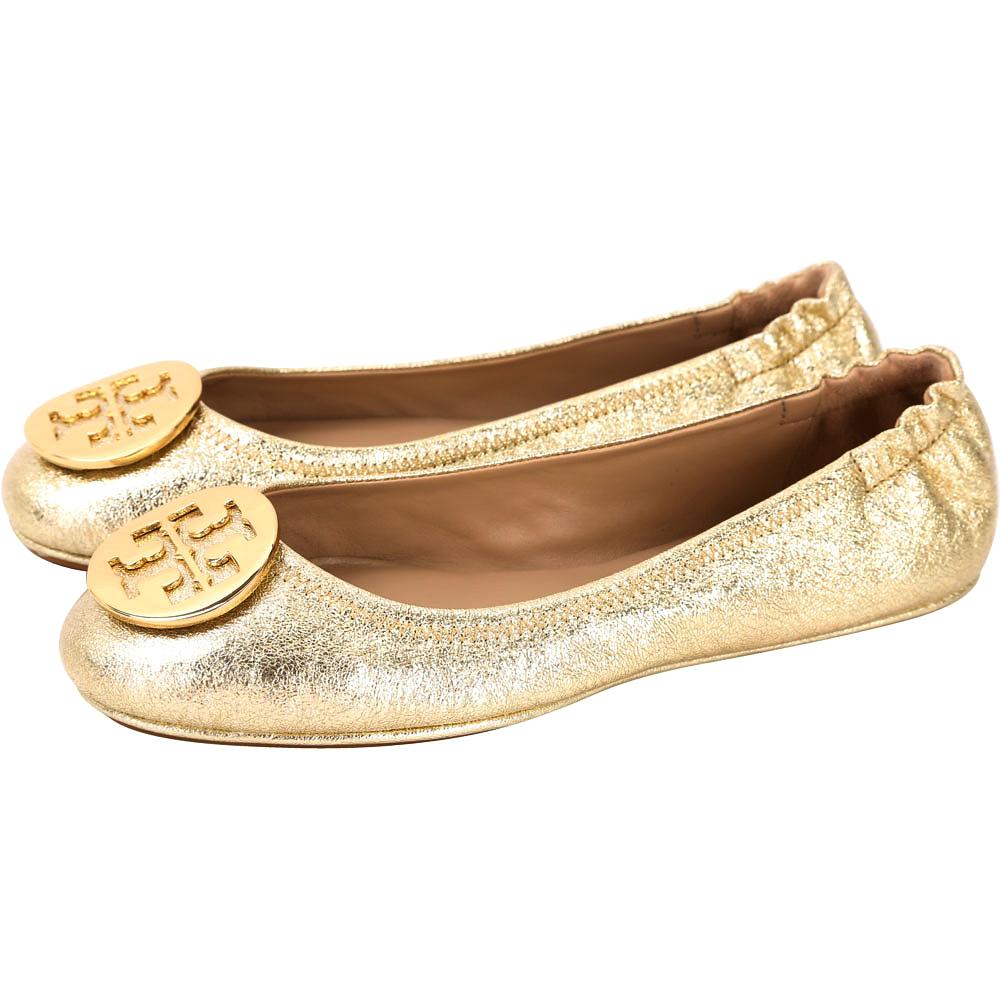 TORY BURCH Minnie Travel 金屬盾牌飾折疊平底鞋(金色)