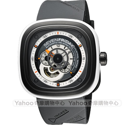 SEVENFRIDAY P3-3 解構世界自動上鍊機械錶-灰/47mm