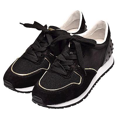 TOD-S 防水帆布麂皮飾邊綁帶豆豆運動鞋(黑)