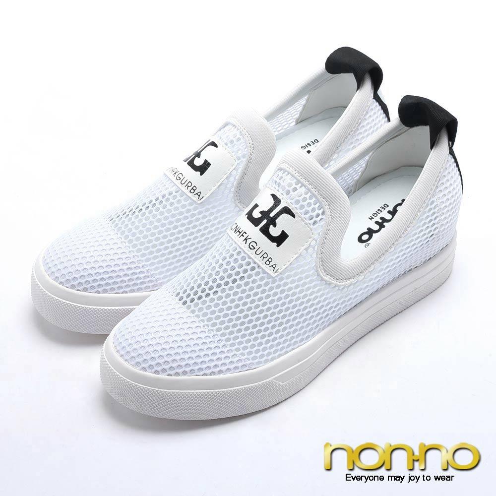 nonno 韓系率性 造型字樣鏤空網布休閒鞋-白