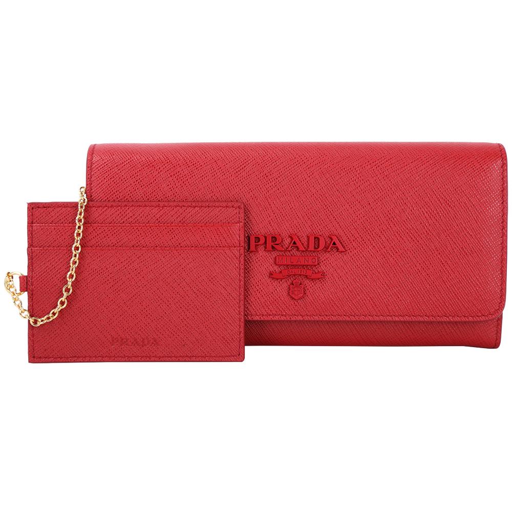 PRADA Saffiano 紅字浮刻防刮牛皮釦式長夾(附可拆式証夾/火紅色)PRADA