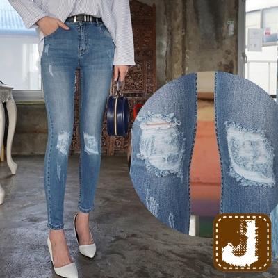 正韓-破膝仿舊緊身高腰長褲-水洗藍-100-Korea-Jeans