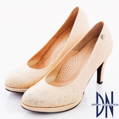 DN 幸福婚鞋 MIT浪漫雪花鑽飾金蔥高跟鞋 金