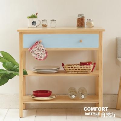 CiS自然行實木家具 電器櫃-碗盤櫃-雜貨櫃-置物櫃W90cm(水洗鄉村藍色)