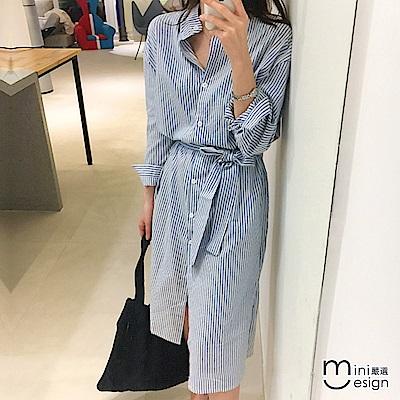 條紋襯衫中長款休閒連身裙 藍色(贈腰帶)-mini嚴選