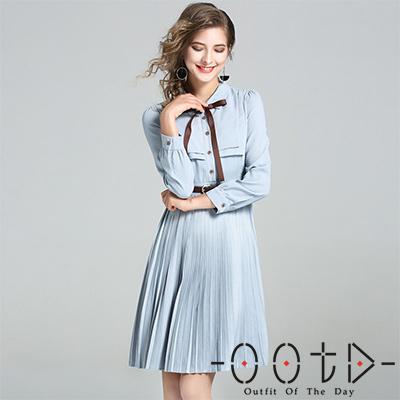翻領拼接襬摺長袖洋裝 (藍色)-OOTD