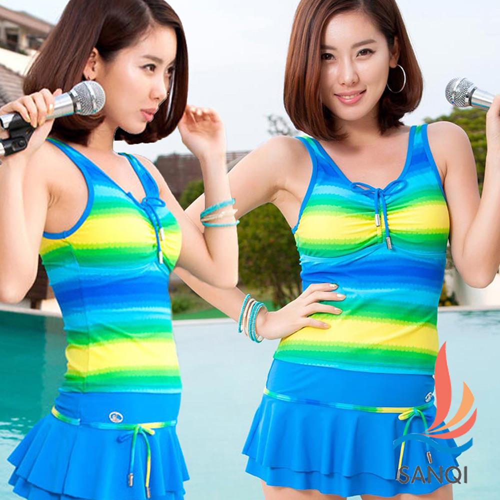 SANQI三奇 人魚傳說 三件式比基尼泳裝 泳衣(藍M~XL)