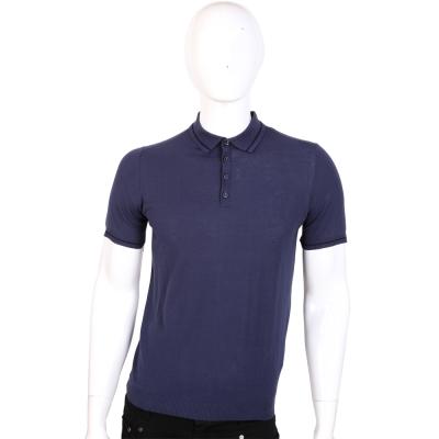 TRUSSARDI 深藍色素面短袖POLO衫